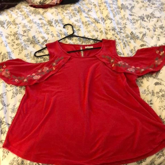 Maurices Tops - Red cold shoulder top Maurices plus size 2